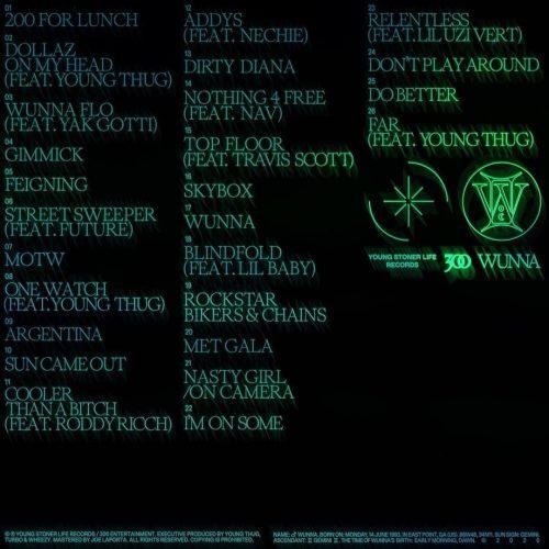 GUNNA WUNNA deluxe tracklist