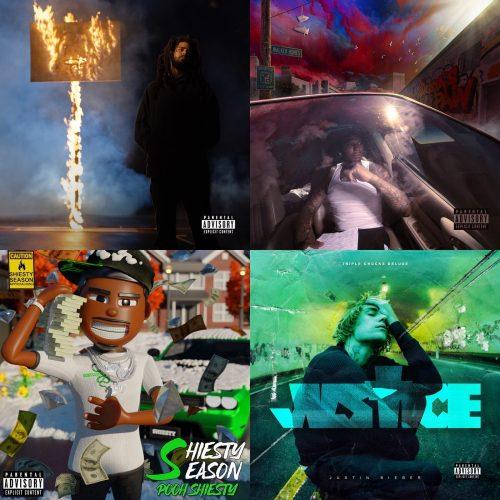 J. Cole The Off-Season Moneybagg Yo A Gangsta's Pain Pooh Shiesty Shiesty Season Justin Bieber Justice album sales week 21